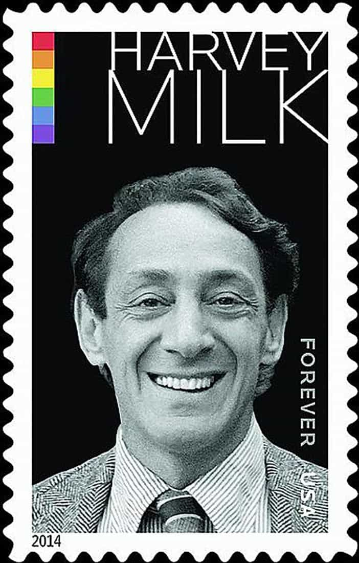Francobollo con l'immagine di Harvey Milk